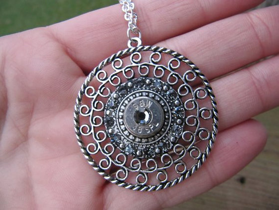 Bullet Pendant Necklace with Grey Swarovski