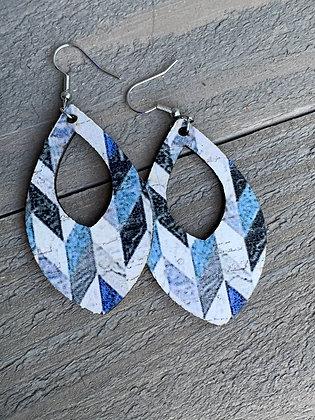 Black and Blue Chevron Cork Teardrop Earring