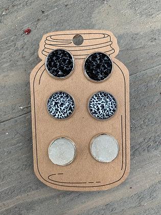 Black and White Leopard Faux Druzy Earring 3 Set