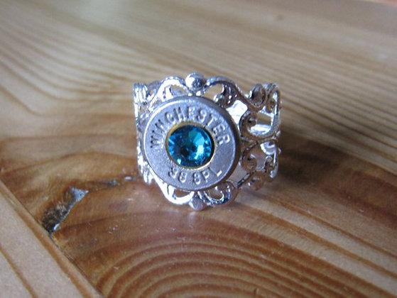 Bullet Ring- 38 Special Blue Zircon Crystal