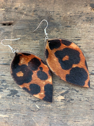 Leopard Print Hair On Leather Earrings