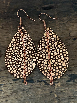 Copper Brown Pebble Leather Earrings with Rose Gold Chain