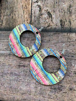 Rainbow Serape Round Cork Leather Earring