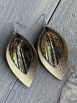 Gold and Black Rain leather earrings