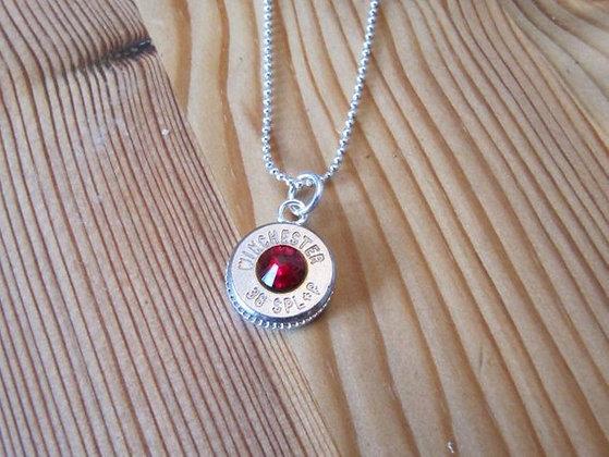 Bullet Necklace with Garnet Swarovski Crystal