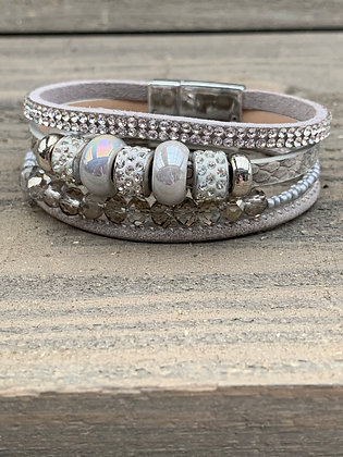 Grey Silver Beaded Rhinestone Magnetic Bracelet