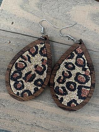 Gold Leopard Glitter and Wood Teardrop Earrings