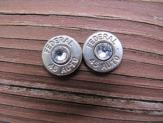 Bullet Earrings-45 Auto Silver Crystal