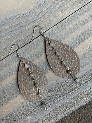 Taupe Leather Earrings with Labradorite Gemstone Chain