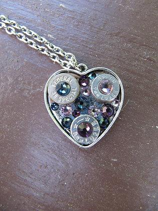 Rhinestone Bullet Heart Necklace- Mermaid Kiss