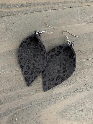 Grey Mini Leopard  Leather Earrings