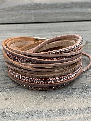 Tan Rose Gold Double Wrap Magnetic Bracelet