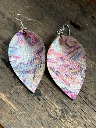 Pastel Swirl Leather Earrings
