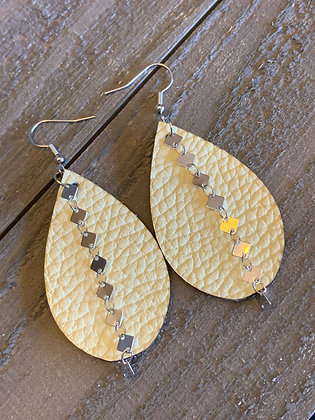 Pale Yellow Leather Earring with Silver Diamond Chain