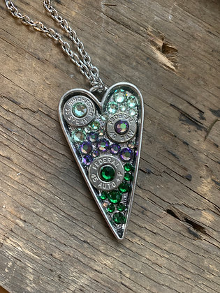 Spring Green and Purple Heart Bullet Necklace