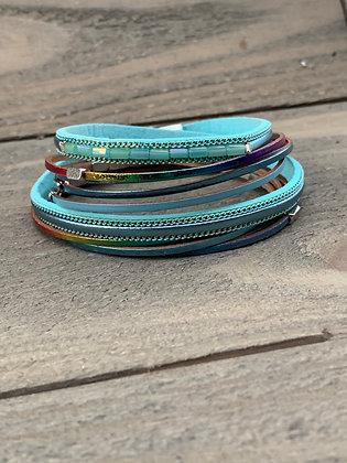 Teal Blue Rainbow Metallic Double Wrap Magnetic Bracelet