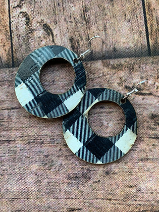 Black and White Buffalo Check Round Cork Leather Earring