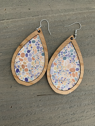 Pastel Pebble Cork and Wood Teardrop Earrings