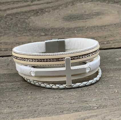 White and Silver Cross Magnetic Bracelet