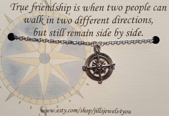 Compass Long Distance Friendship Necklace
