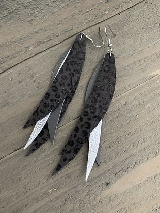 Silver and Grey Leopard Stacked Fringe Feather Earrings