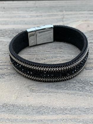 Black Rhinestone Magnetic Bracelet