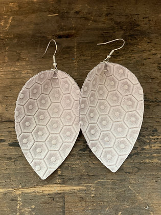 Cream Honeycomb Leather Earrings