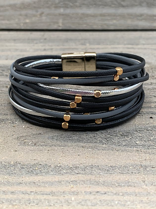 Black Grey Silver and Gold Magnetic Bracelet