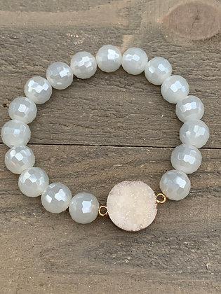 White Crystal Druzy Stretch Bracelet