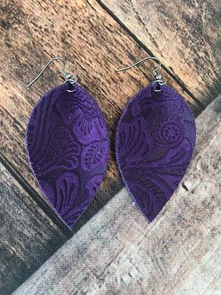 Purple Paisley Suede Earrings