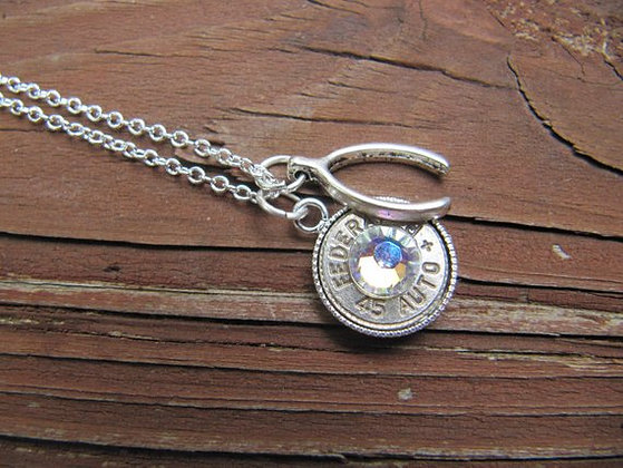 Bullet Necklace with Wishbone and Crystal Accents