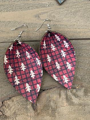 Black Plaid Christmas Tree  Leather Earrings