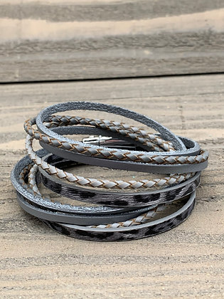 Silver Leopard Double Wrap Magnetic Bracelet