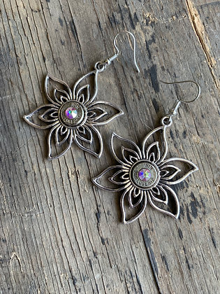 Flower Earrings with 9mm and Swarovski Dangle