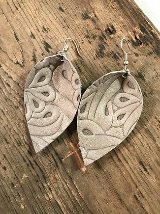 Grey embossed leather earrings