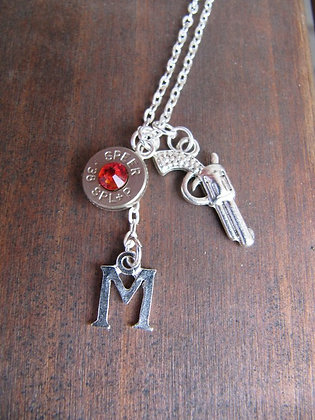 Bullet Necklace with Pistol and Alphabet Charm