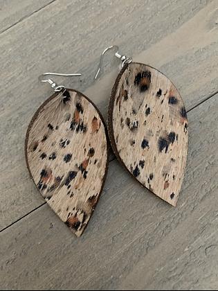 Leopard acid wash hair on leather earrings
