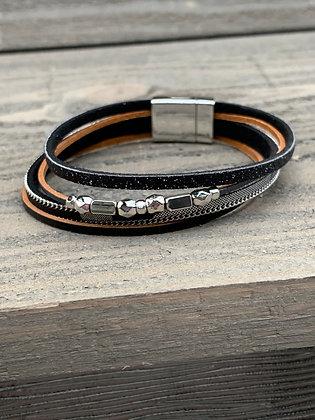 Black Glitter and Silver Beaded Leopard Magnetic Bracelet