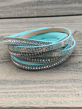 Teal Blue Rhinestone Double Wrap Magnetic Bracelet