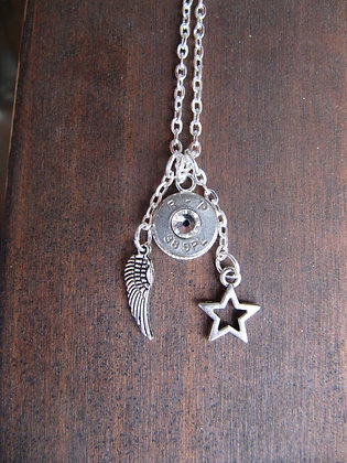 Bullet Necklace with Angel Wing, Star and Crystal