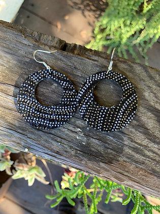 Black Metallic Dot Cork Hoop Earring