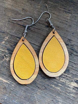 Mustard Yellow Leather Wood Teardrop Earrings