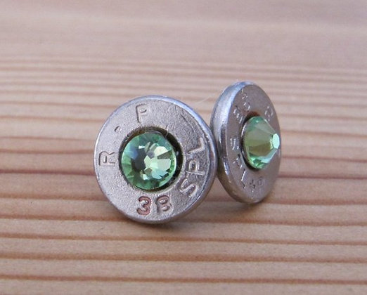 Bullet Earrings- 38 Special Peridot Crystal