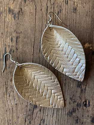 Metallic Platnium braided textured leather earring