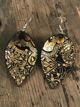 Black and Gold Paisley Suede Earrings