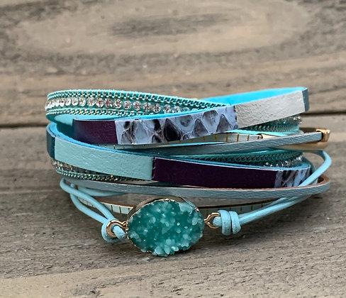 Teal Blue Druzy Double Wrap Magnetic Bracelet