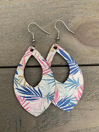 Tropical Palm Leaf Cork Teardrop Earring
