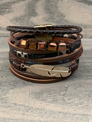 Brown Beaded Feather Magnetic Bracelet