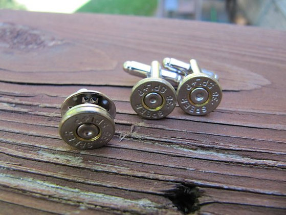 Bullet Cuff link and Tie Tack Set-38 Special