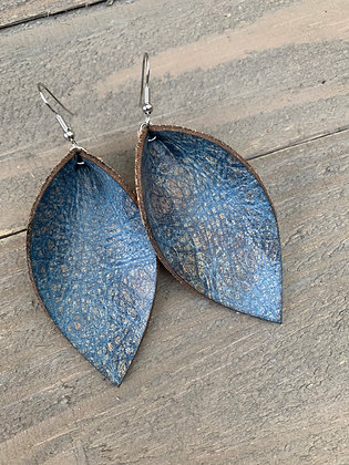 Blue And Brown Crackle Leather Earrings